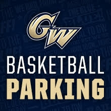 GW athletic logo, basketball parking text